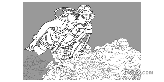 Coral Reef With Scuba Diver Black And White Illustration Twinkl