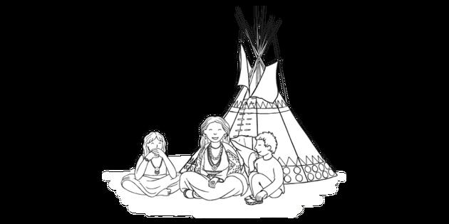 Elder Telling Children Story Black And White 1 Illustration Twinkl