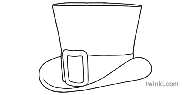 Green Top Hat Black And White Illustration Twinkl