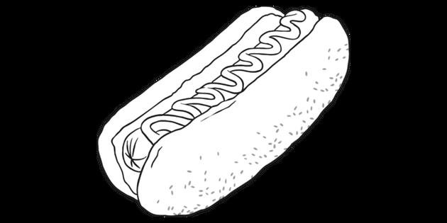 Hotdog Black And White Illustration Twinkl