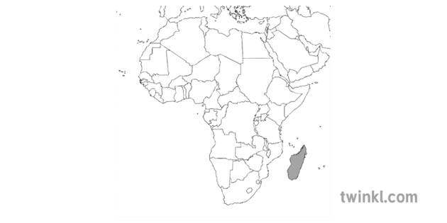 Map Of Africa Ks2.Ks2 Africa Map With Madagascar Black And White Illustration Twinkl