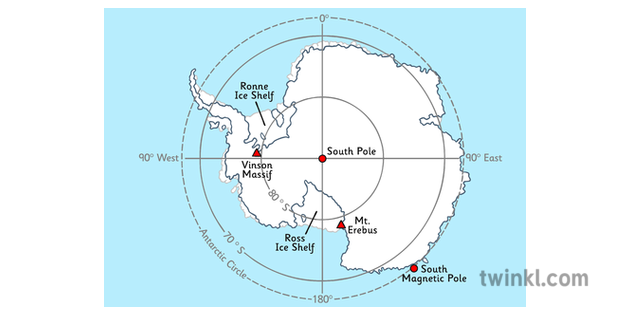 Map of Antarctica with Latitude and Longitude Ilustración ...