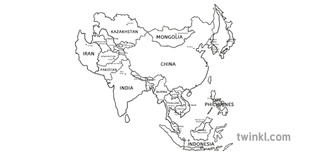 Map Of Asia Black And White Illustration Twinkl