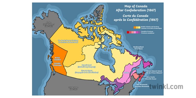 Map Of Canada After Confederation Map of Canada After Confederation 1867 Illustration   Twinkl