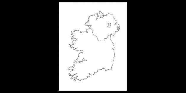 Map Of Ireland Black And White.Map Of Ireland Black And White Illustration Twinkl