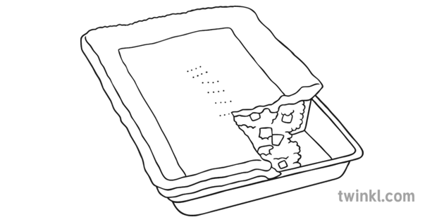 Meat Pie In Rectangular Tray Black And White Illustration Twinkl