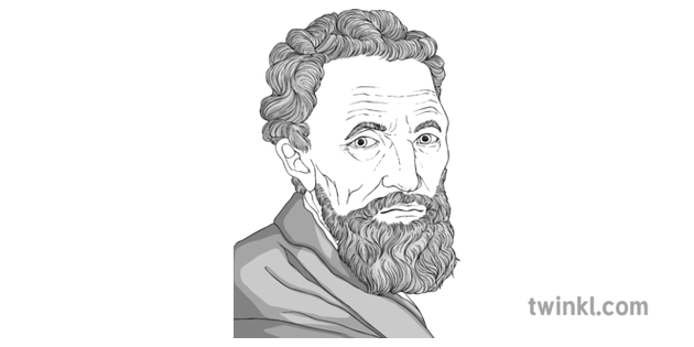 Michelangelo Black And White Illustration Twinkl
