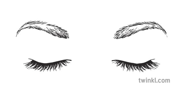 Pair Of Closed Eyes Black And White Illustration Twinkl