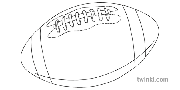 Rugby Ball Black And White 2 Illustration Twinkl