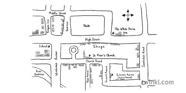 Sketch Map Black And White Illustration Twinkl