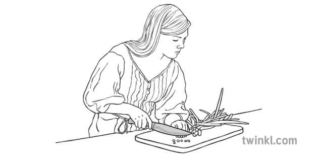Teenager Cooking Black And White Illustration Twinkl