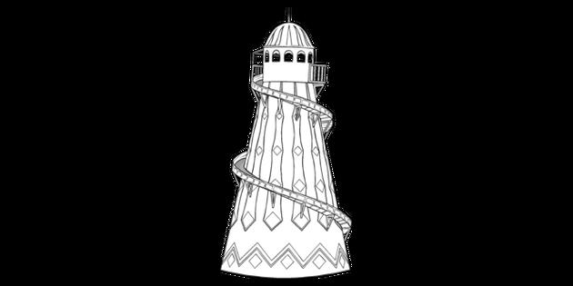 Themepark Helter Skelter Black And White Illustration Twinkl
