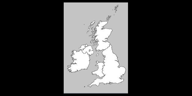 Map Of Uk Black And White.Uk Borders Map Black And White Illustration Twinkl