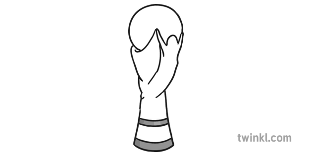 World Cup Trophy Black And White Illustration Twinkl