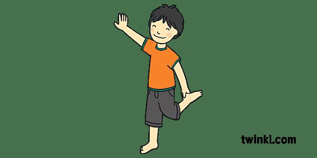 Child Standing On One Leg 2 Illustration - Twinkl