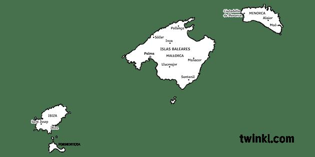 Spagna E Isole Baleari Cartina.Mappa Delle Isole Baleari Province Spagna Baleari Ks2 Bianco E Nero