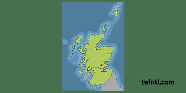 Cartina Geografica Della Scozia.Mappa Della Scozia Con Sette Citta Illustration Twinkl