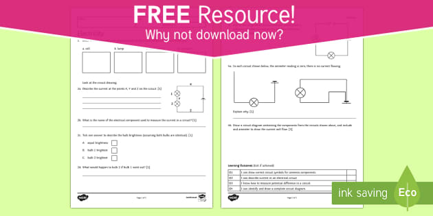 Ks3 current electricity homework worksheet activity sheet ccuart Image collections