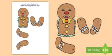 * NEW * Split Pin Gingerbread Man Arabic/English