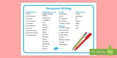 Persuasive Writing Word Mat