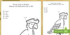 * NEW * Pirates Color by Number Addition and Subtraction to 100 Activity Sheet