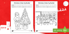 * NEW * KS1 Christmas Colour By Number Colouring Pages