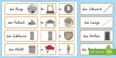 * NEW * Mittelalterliche Burg Wort und Bildkarten