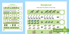 Rainforest Themed Up to 20 Addition Sheet