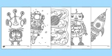 Space Themed Mindfulness Colouring Sheets