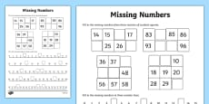 Missing Numbers Activity Sheet