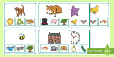 * NEW * Rhyming Match Clip Cards