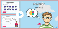 Year 2 Fractions Maths Warm-Up PowerPoint