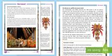 * NEW * Fasching und Karneval Informationstext Arbeitsblätter: Unterschiedliche Schwierigkeitsgrade