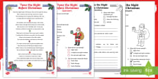 KS1 Twas the Night Before Christmas Differentiated Reading Comprehension Activity
