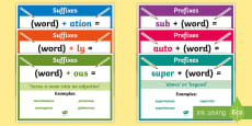 * NEW * LKS2 Prefixes and Suffixes Display Posters