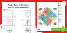 * NEW * Twelve Days of Christmas Fortune Teller Template