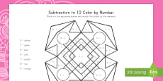 * NEW * Rangoli Pattern Subtraction to 10 Color by Number Activity Sheet