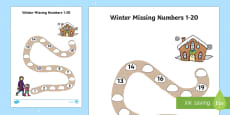 Winter Path Missing Numbers to 20 Activity Sheet