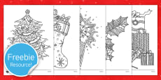Christmas Themed Mindfulness Colouring Sheets