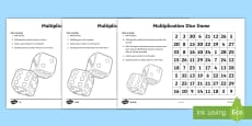 Multiplication Dice Game Activity Sheet