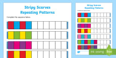 Stripy Scarves Repeating Patterns Activity Sheet