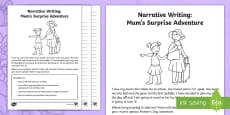Mum's Surprise Adventure - Narrative Writing Activity Sheet