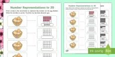 * NEW * Ten-Frame Number Representations to 20 Worksheet