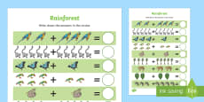 Rainforest-Themed Up to 10 Addition Sheet