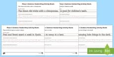 Phase 4 Sentence Handwriting Activity Sheets