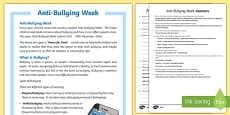 Anti-Bullying Week Differentiated Reading Comprehension Activity
