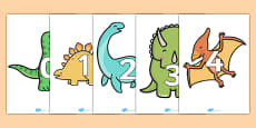 Numbers 0-20 on Dinosaurs