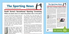 * NEW * KS2 Winter Olympics 2018 WAGOLL Example Newspaper Report