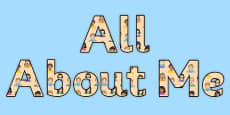 All About Me Display Lettering Sentence