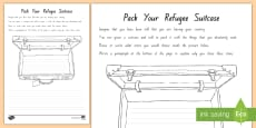 * NEW * Term 1 Week 1 Year 7 and 8 Chapter Chat Pack your Refugee Suitcase Activity Sheet